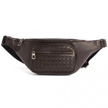 【送料込】2018人気Bottega Veneta ボッテガヴェネタ ウエストポーチ 高級 レザー  ボティバッグ Black Intrecciato Belted Bag
