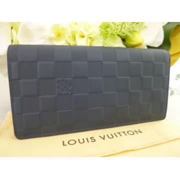 日本ルイヴィトン 長財布個性的なlouisvuitton 男性用ブラザダミエアンフィニ財布紺色